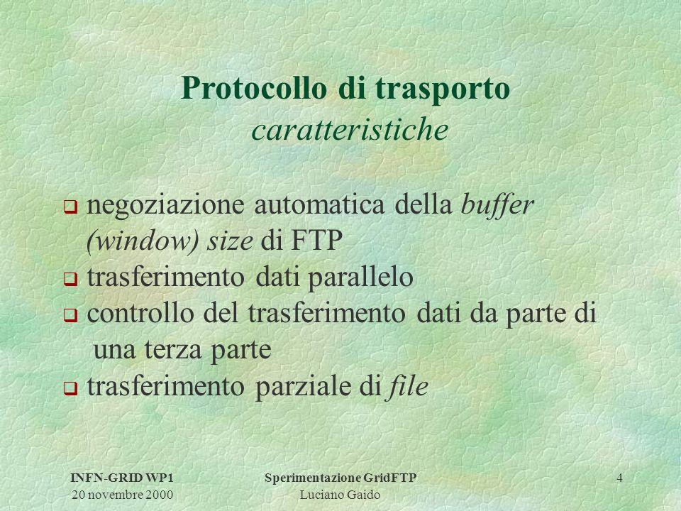 INFN-GRID WP1 20 novembre 2000 Sperimentazione GridFTP Luciano Gaido 4 Protocollo di trasporto caratteristiche q negoziazione automatica della buffer (window) size di FTP q trasferimento dati parallelo q controllo del trasferimento dati da parte di una terza parte q trasferimento parziale di file