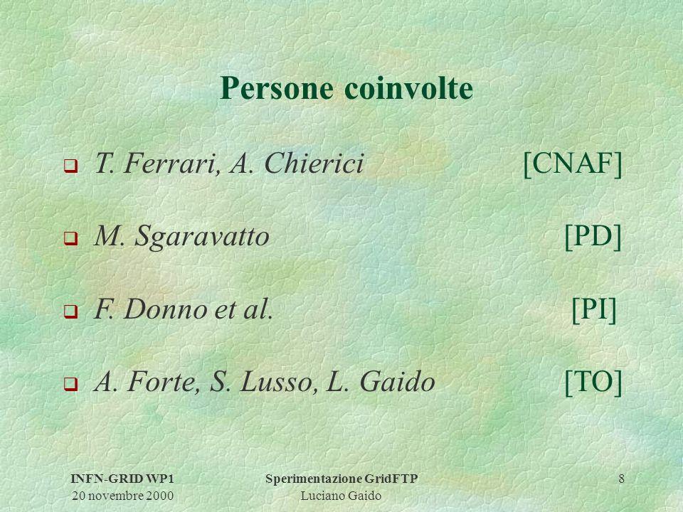 INFN-GRID WP1 20 novembre 2000 Sperimentazione GridFTP Luciano Gaido 8 Persone coinvolte q T.