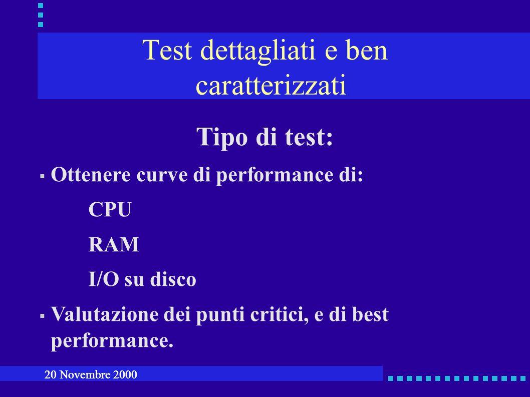 Test dettagliati e ben caratterizzati Tipo di test: Ottenere curve di performance di: CPU RAM I/O su disco Valutazione dei punti critici, e di best performance.