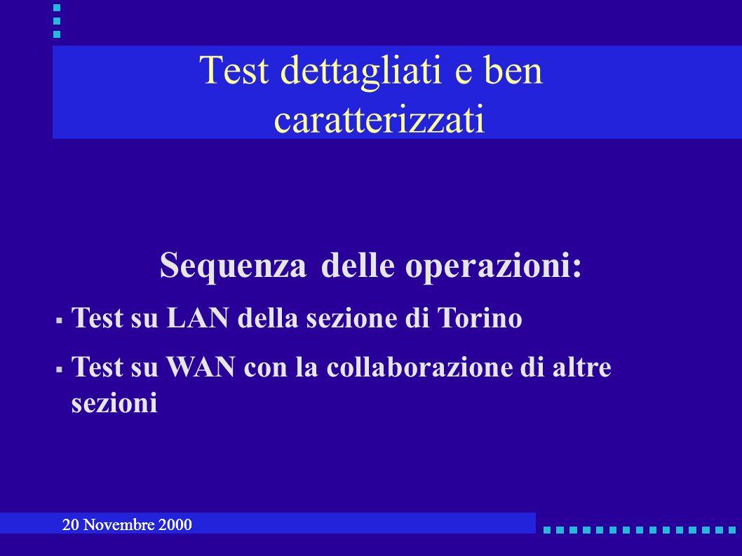 Test dettagliati e ben caratterizzati Sequenza delle operazioni: Test su LAN della sezione di Torino Test su WAN con la collaborazione di altre sezioni 20 Novembre 2000