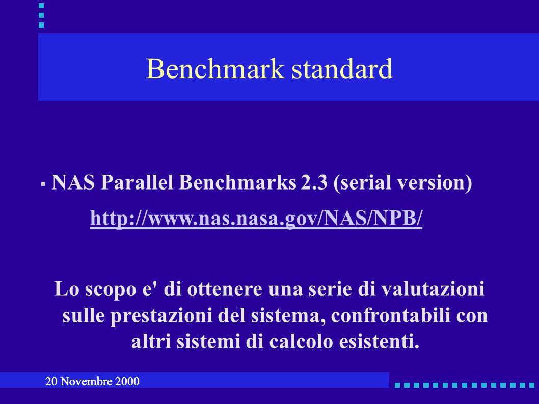 Benchmark standard NAS Parallel Benchmarks 2.3 (serial version) http://www.nas.nasa.gov/NAS/NPB/ Lo scopo e di ottenere una serie di valutazioni sulle prestazioni del sistema, confrontabili con altri sistemi di calcolo esistenti.