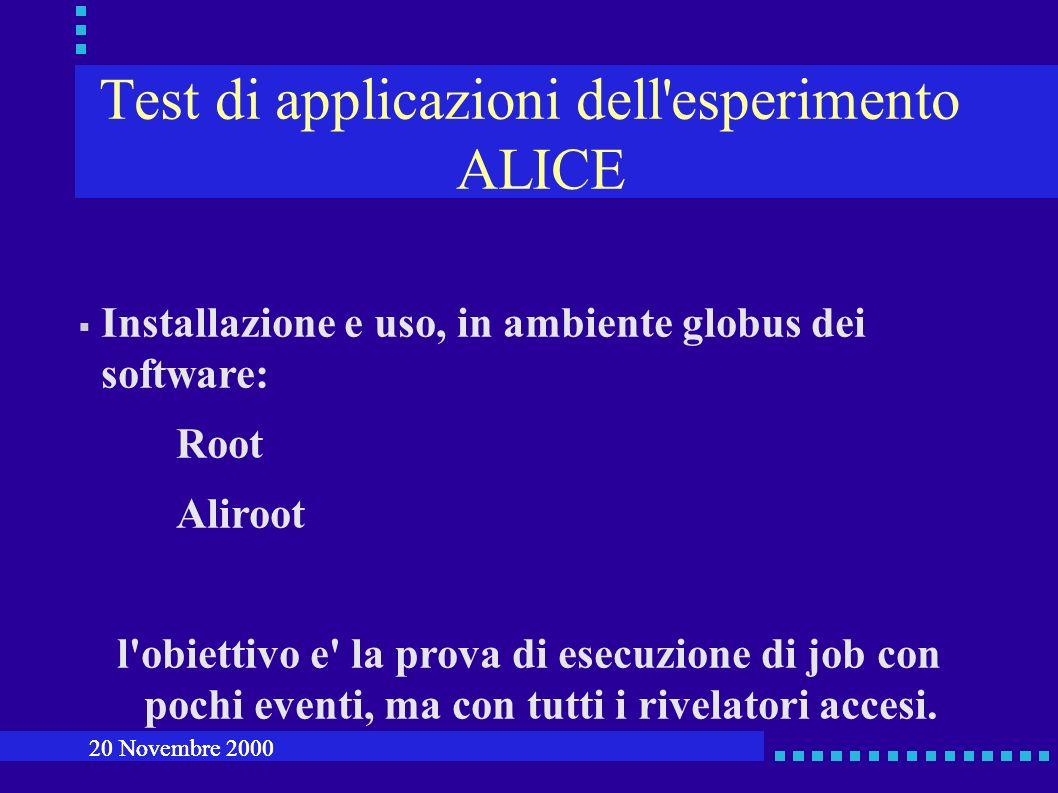 Test di applicazioni dell esperimento ALICE Installazione e uso, in ambiente globus dei software: Root Aliroot l obiettivo e la prova di esecuzione di job con pochi eventi, ma con tutti i rivelatori accesi.