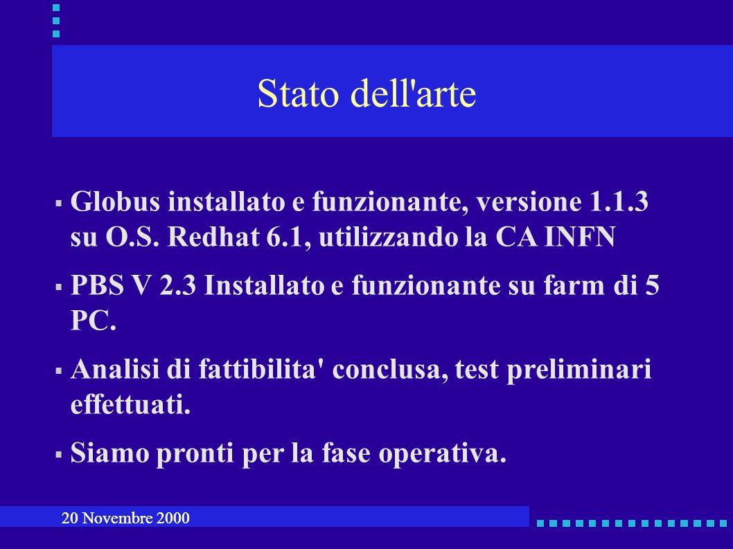Stato dell arte Globus installato e funzionante, versione 1.1.3 su O.S.