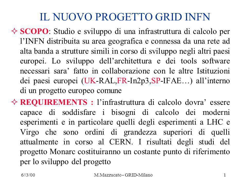 6//3/00M.Mazzucato - GRID-Milano2 The Grid Dependable, consistent, pervasive access to [high-end] resources Dependable: Can provide performance and functionality guarantees Consistent: Uniform interfaces to a wide variety of resources Pervasive: Ability to plug in from anywhere