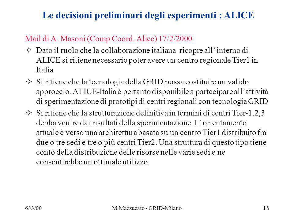 6//3/00M.Mazzucato - GRID-Milano18 Le decisioni preliminari degli esperimenti : ALICE Mail di A.