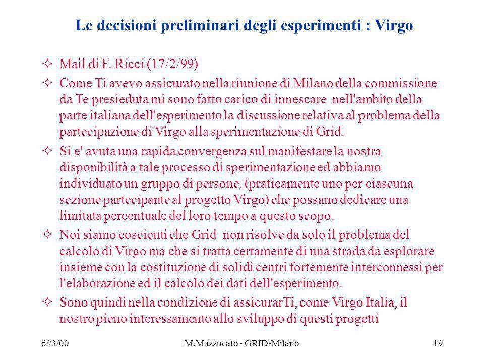 6//3/00M.Mazzucato - GRID-Milano19 Le decisioni preliminari degli esperimenti : Virgo Mail di F.