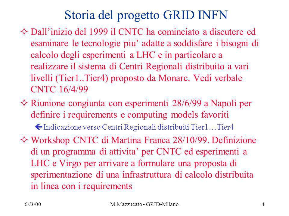 6//3/00M.Mazzucato - GRID-Milano4 Storia del progetto GRID INFN Dallinizio del 1999 il CNTC ha cominciato a discutere ed esaminare le tecnologie piu adatte a soddisfare i bisogni di calcolo degli esperimenti a LHC e in particolare a realizzare il sistema di Centri Regionali distribuito a vari livelli (Tier1..Tier4) proposto da Monarc.