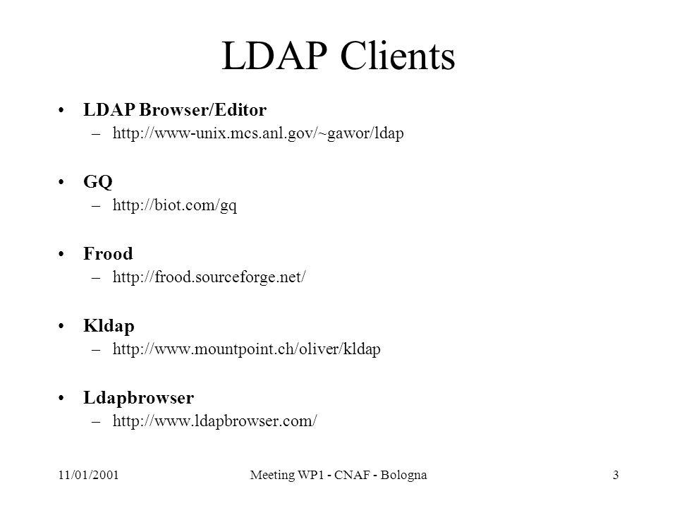 11/01/2001Meeting WP1 - CNAF - Bologna4 LDAP WWW Gateways Web2ldap –http://www.web2ldap.de/ LDAPExplorer –http://igloo.its.unimelb.edu.au/LDAPExplorer