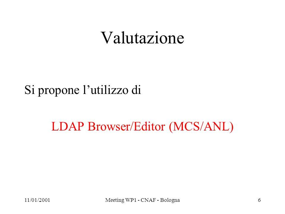 11/01/2001Meeting WP1 - CNAF - Bologna7 Motivi della scelta (1) Più user-friendly rispetto agli altri Java (Unix e Windows) Supporta SSL Attribute viewer/editors –Built-in viewers –Custom Viewers Può runnare come applet allinterno di un browser