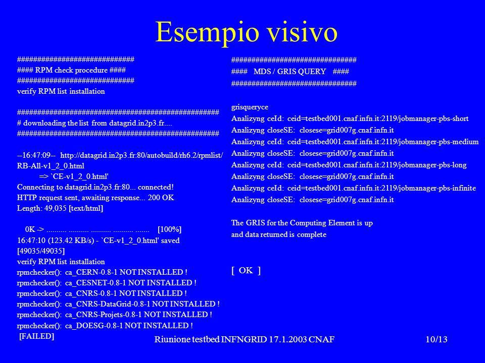 10/13Riunione testbed INFNGRID 17.1.2003 CNAF Esempio visivo ############################# #### RPM check procedure #### #############################