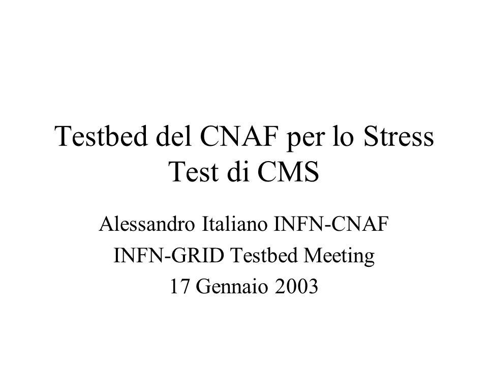 Testbed del CNAF per lo Stress Test di CMS Alessandro Italiano INFN-CNAF INFN-GRID Testbed Meeting 17 Gennaio 2003