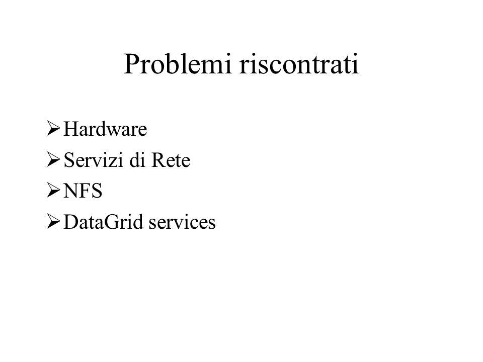 Problemi riscontrati Hardware Servizi di Rete NFS DataGrid services