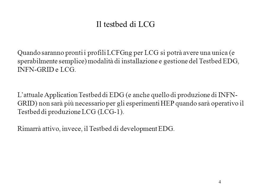 4 Il testbed di LCG Quando saranno pronti i profili LCFGng per LCG si potrà avere una unica (e sperabilmente semplice) modalità di installazione e ges