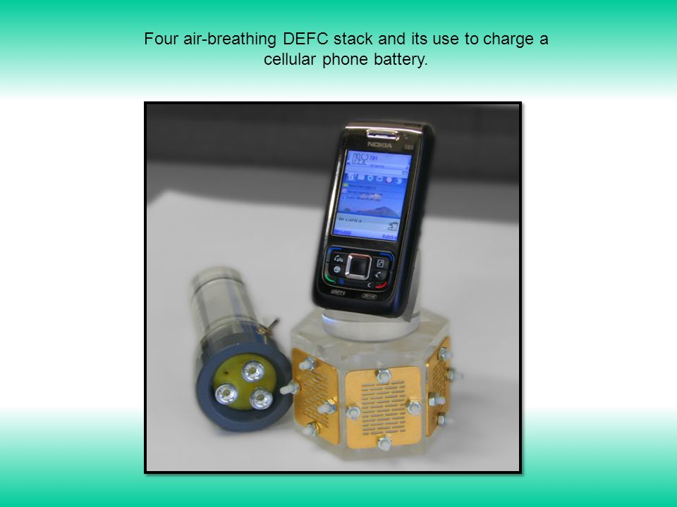 Four air-breathing DEFC stack and its use to charge a cellular phone battery.
