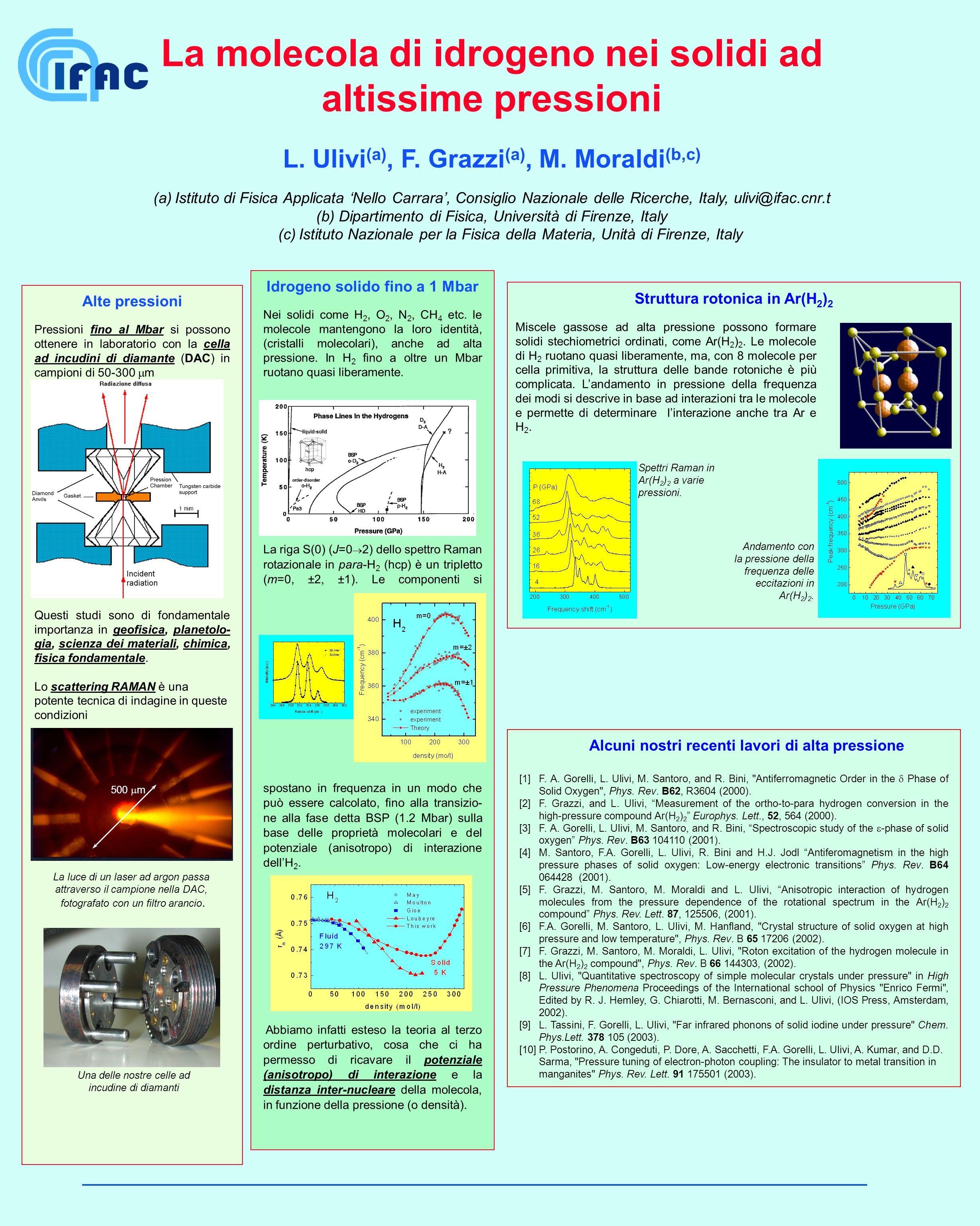 La molecola di idrogeno nei solidi ad altissime pressioni L. Ulivi (a), F. Grazzi (a), M. Moraldi (b,c) (a) Istituto di Fisica Applicata Nello Carrara