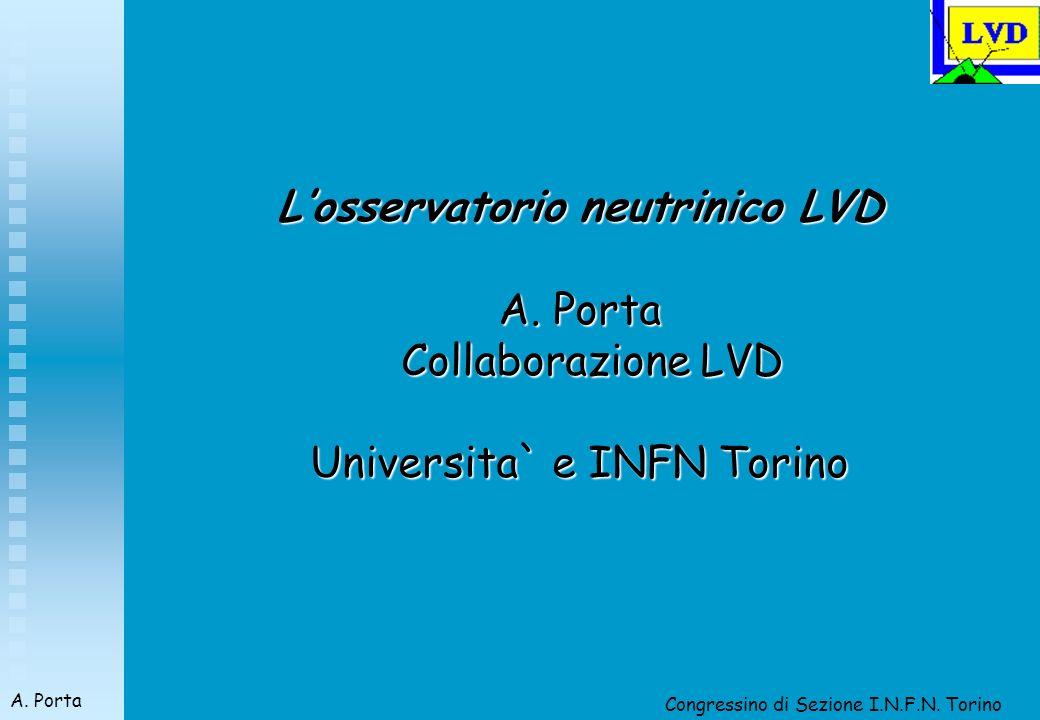 Congressino di Sezione I.N.F.N. Torino A. Porta Losservatorio neutrinico LVD A.