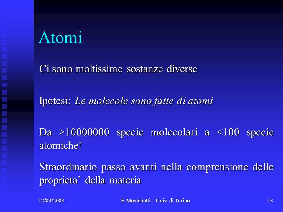 12/03/2008E.Menichetti - Univ. di Torino13 Atomi Ci sono moltissime sostanze diverse Ipotesi: Le molecole sono fatte di atomi Da >10000000 specie mole