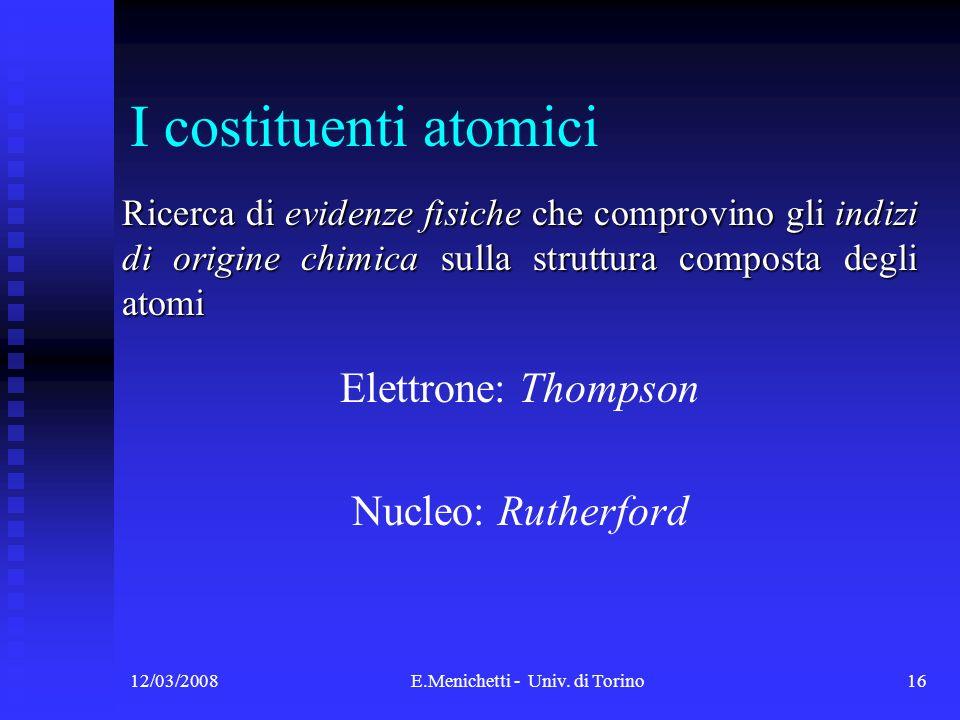 12/03/2008E.Menichetti - Univ. di Torino16 I costituenti atomici Ricerca di evidenze fisiche che comprovino gli indizi di origine chimica sulla strutt