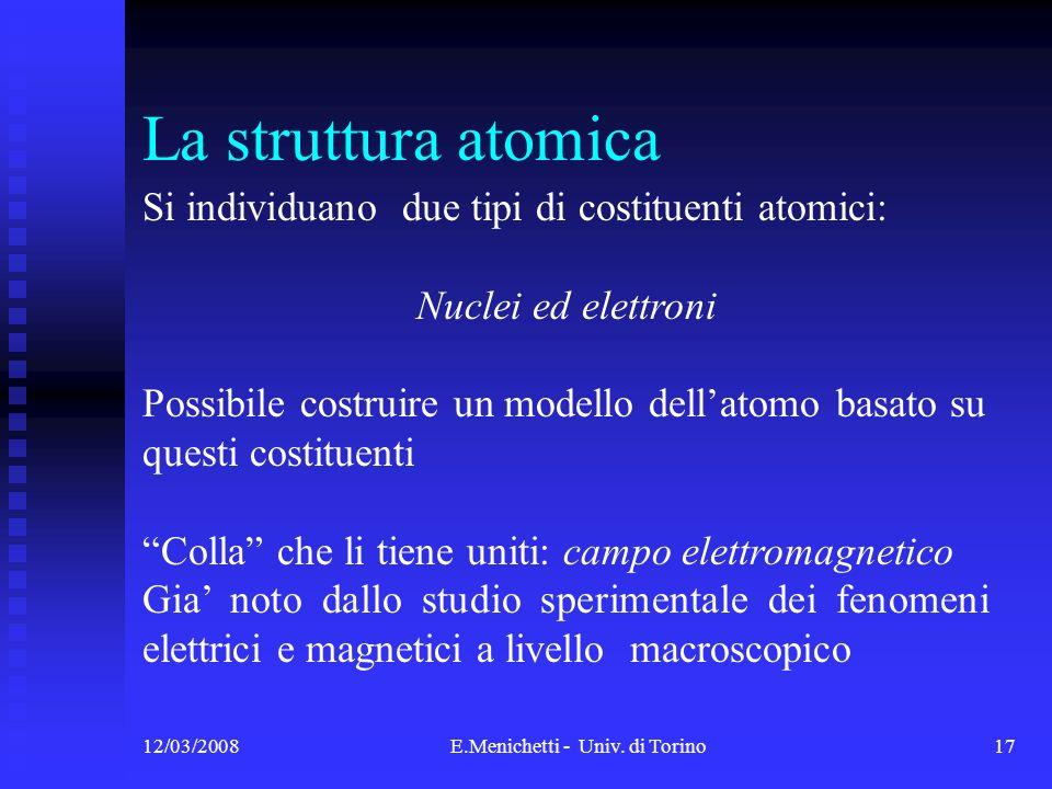12/03/2008E.Menichetti - Univ. di Torino17 Si individuano due tipi di costituenti atomici: Nuclei ed elettroni Possibile costruire un modello dellatom