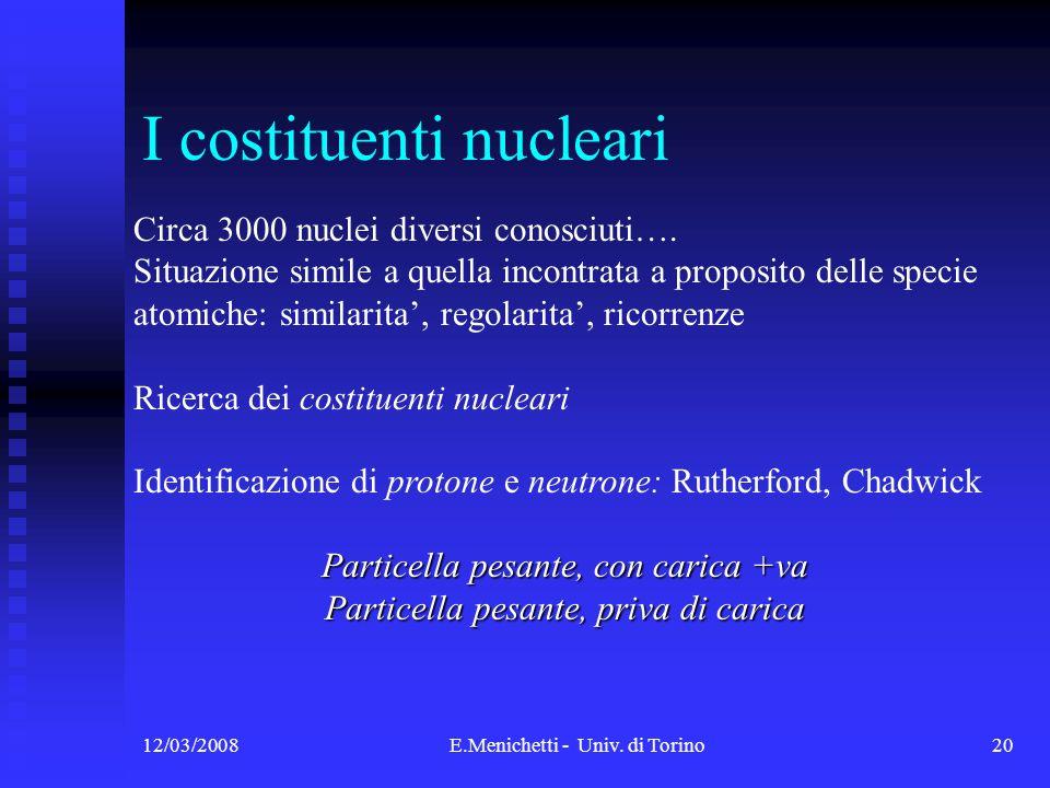 12/03/2008E.Menichetti - Univ. di Torino20 I costituenti nucleari Circa 3000 nuclei diversi conosciuti…. Situazione simile a quella incontrata a propo