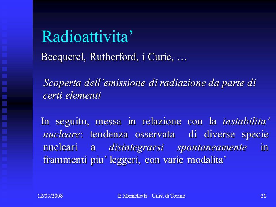 12/03/2008E.Menichetti - Univ. di Torino21 Radioattivita Becquerel, Rutherford, i Curie, … Becquerel, Rutherford, i Curie, … Scoperta dellemissione di