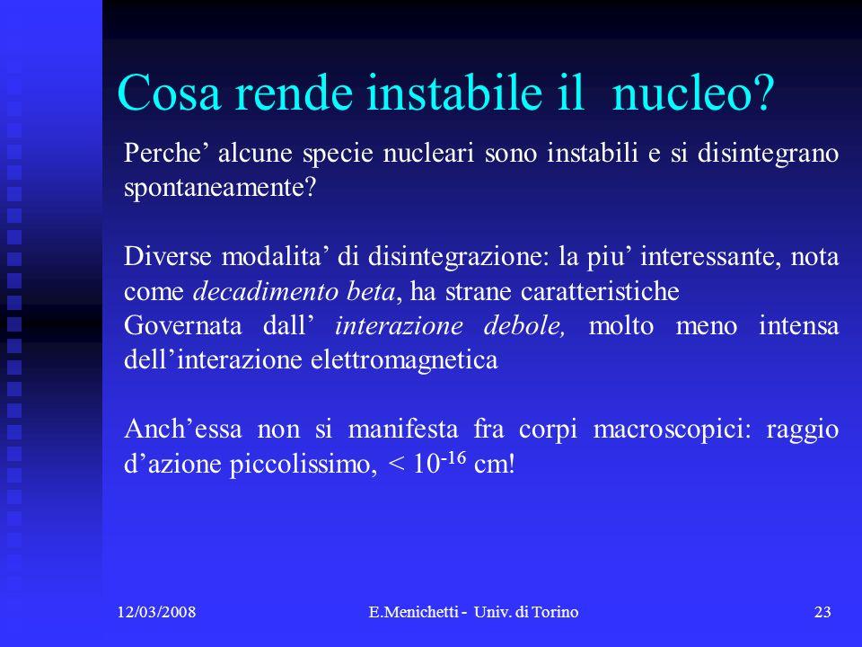 12/03/2008E.Menichetti - Univ. di Torino23 Cosa rende instabile il nucleo? Perche alcune specie nucleari sono instabili e si disintegrano spontaneamen