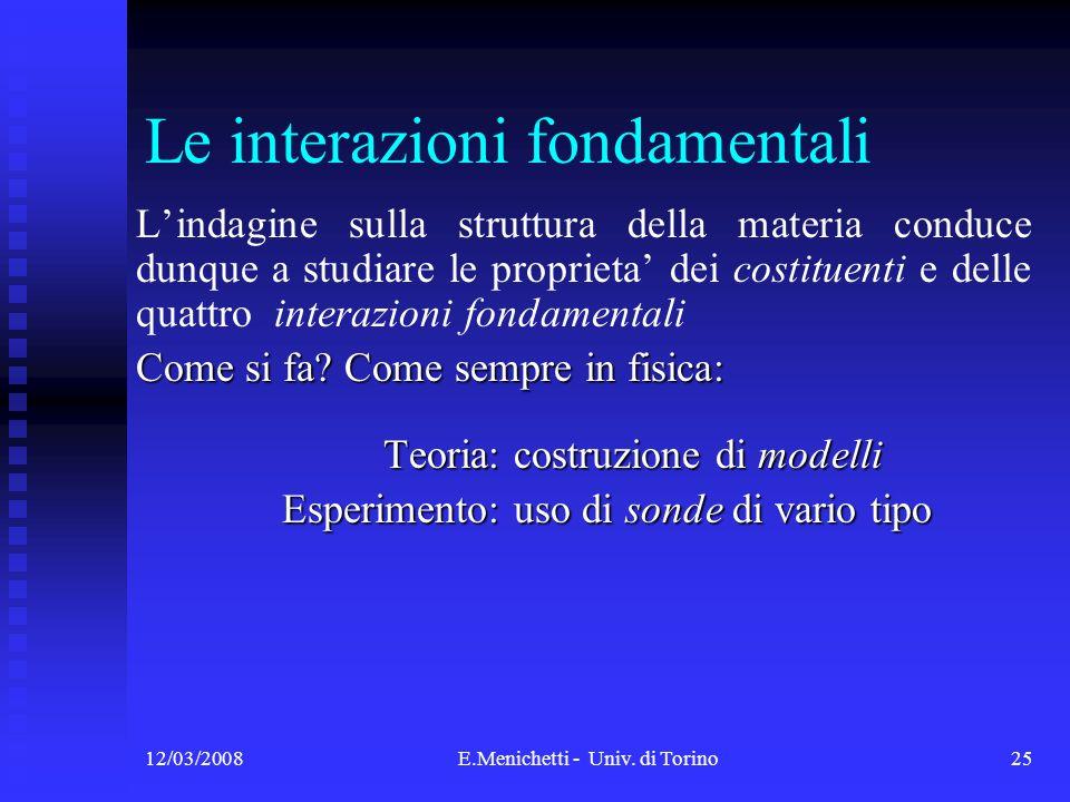 12/03/2008E.Menichetti - Univ. di Torino25 Le interazioni fondamentali Lindagine sulla struttura della materia conduce dunque a studiare le proprieta