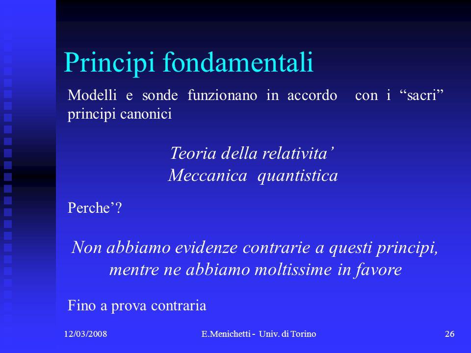 12/03/2008E.Menichetti - Univ. di Torino26 Principi fondamentali Modelli e sonde funzionano in accordo con i sacri principi canonici Teoria della rela
