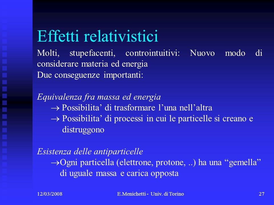 12/03/2008E.Menichetti - Univ. di Torino27 Effetti relativistici Molti, stupefacenti, controintuitivi: Nuovo modo di considerare materia ed energia Du