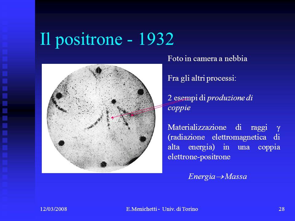 12/03/2008E.Menichetti - Univ. di Torino28 Il positrone - 1932 Foto in camera a nebbia Fra gli altri processi: 2 esempi di produzione di coppie Materi