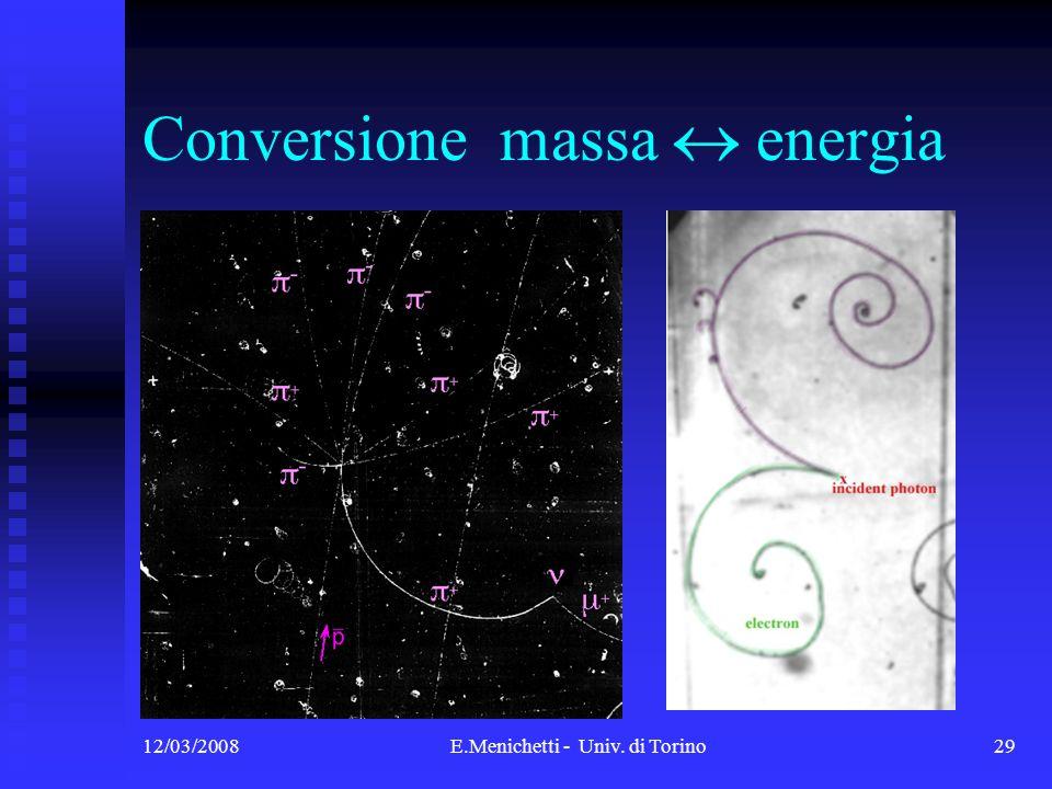 12/03/2008E.Menichetti - Univ. di Torino29 Conversione massa energia