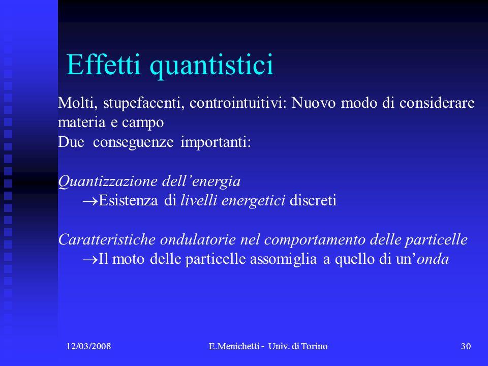 12/03/2008E.Menichetti - Univ. di Torino30 Effetti quantistici Molti, stupefacenti, controintuitivi: Nuovo modo di considerare materia e campo Due con