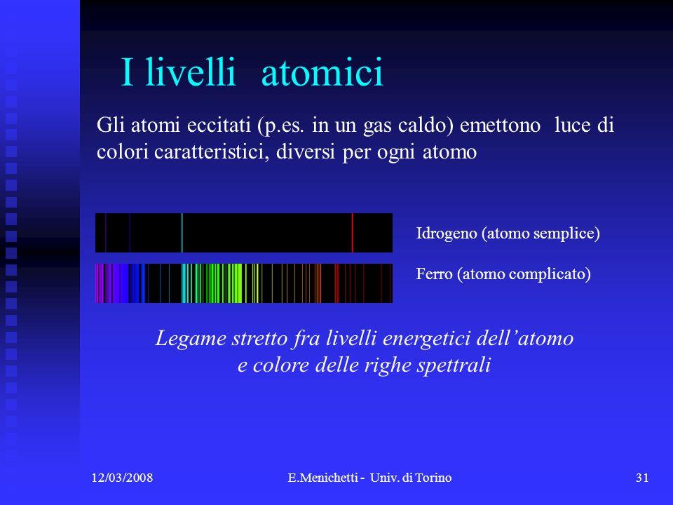 12/03/2008E.Menichetti - Univ. di Torino31 I livelli atomici Idrogeno (atomo semplice) Ferro (atomo complicato) Gli atomi eccitati (p.es. in un gas ca