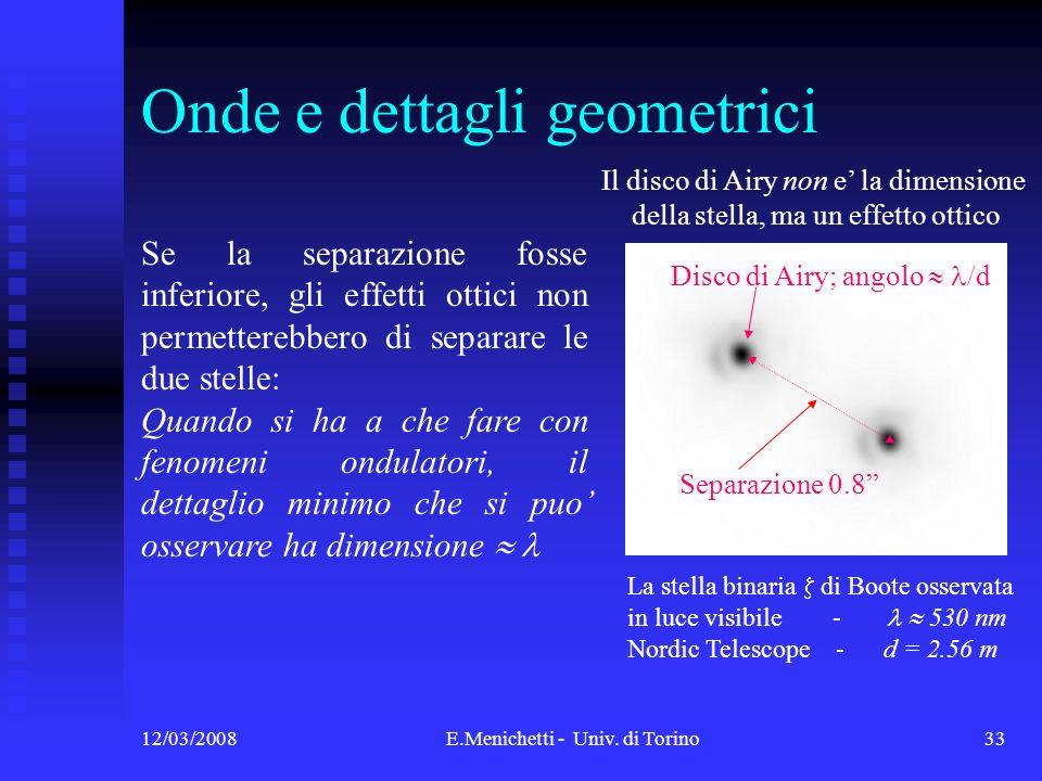 12/03/2008E.Menichetti - Univ. di Torino33 Onde e dettagli geometrici La stella binaria di Boote osservata in luce visibile - 530 nm Nordic Telescope