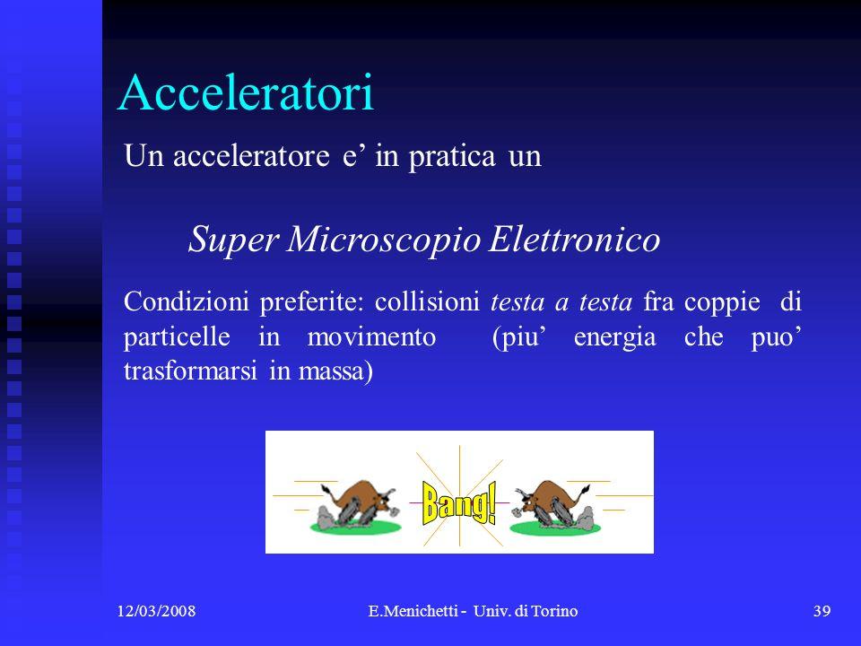 12/03/2008E.Menichetti - Univ. di Torino39 Acceleratori Un acceleratore e in pratica un Super Microscopio Elettronico Condizioni preferite: collisioni