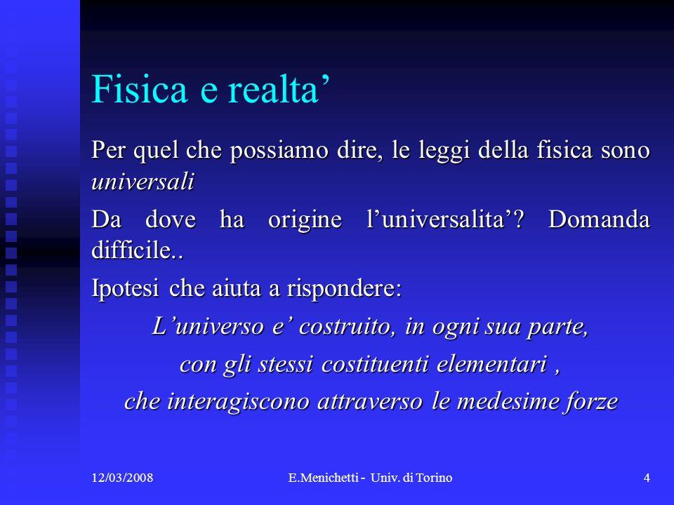 12/03/2008E.Menichetti - Univ. di Torino4 Fisica e realta Per quel che possiamo dire, le leggi della fisica sono universali Da dove ha origine luniver