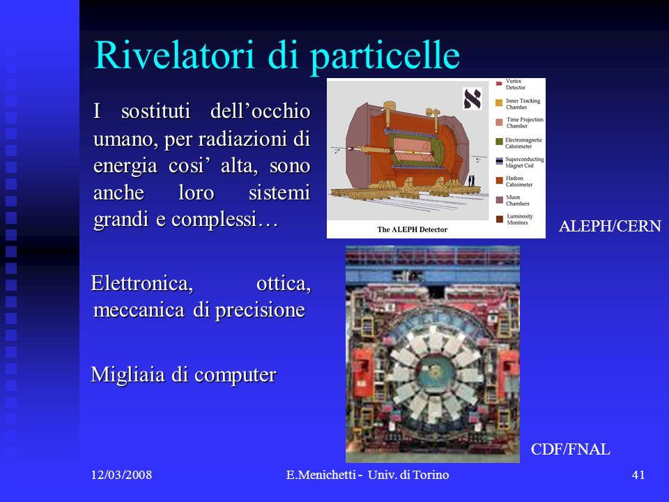 12/03/2008E.Menichetti - Univ. di Torino41 Rivelatori di particelle I sostituti dellocchio umano, per radiazioni di energia cosi alta, sono anche loro