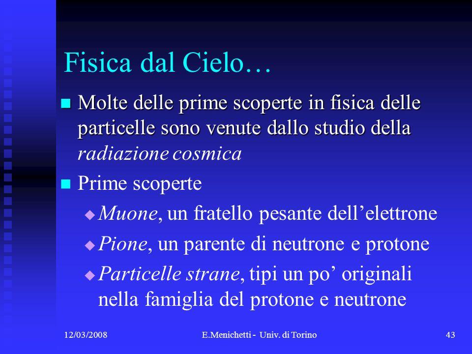 12/03/2008E.Menichetti - Univ. di Torino43 Fisica dal Cielo… Molte delle prime scoperte in fisica delle particelle sono venute dallo studio della Molt