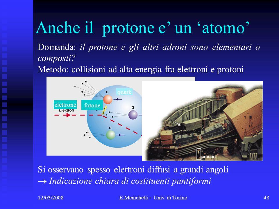 12/03/2008E.Menichetti - Univ. di Torino48 Domanda: il protone e gli altri adroni sono elementari o composti? Metodo: collisioni ad alta energia fra e