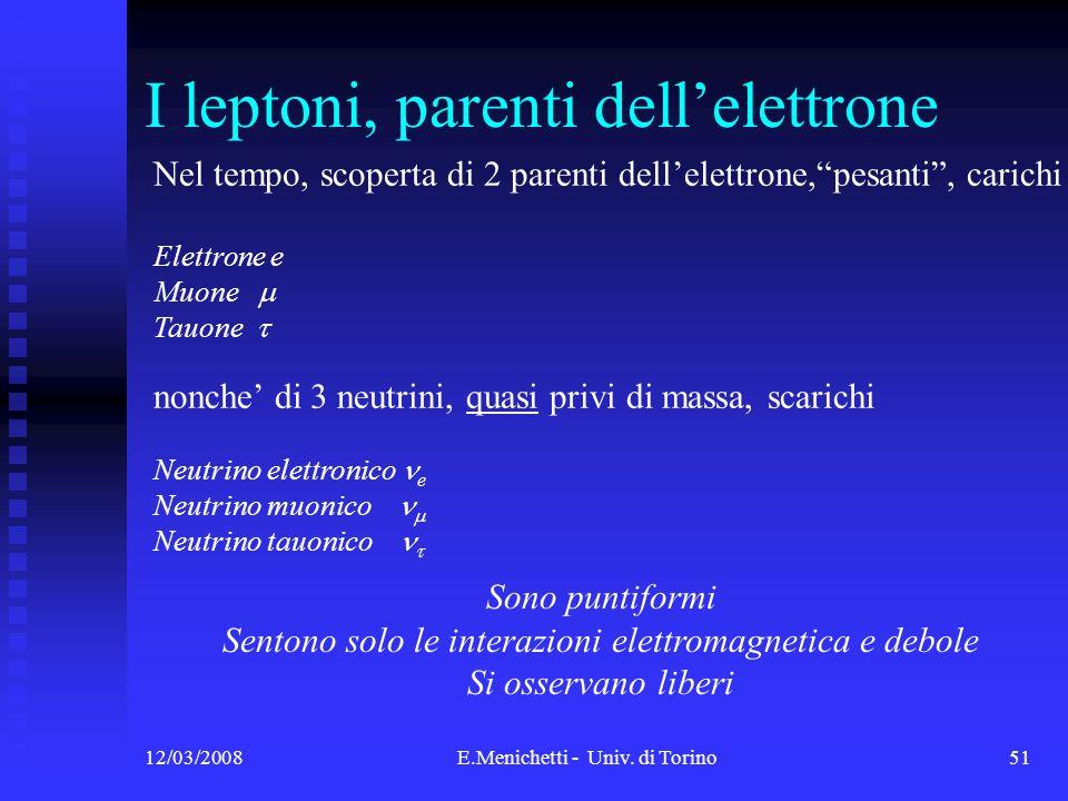 12/03/2008E.Menichetti - Univ. di Torino51 I leptoni, parenti dellelettrone Nel tempo, scoperta di 2 parenti dellelettrone,pesanti, carichi Elettrone