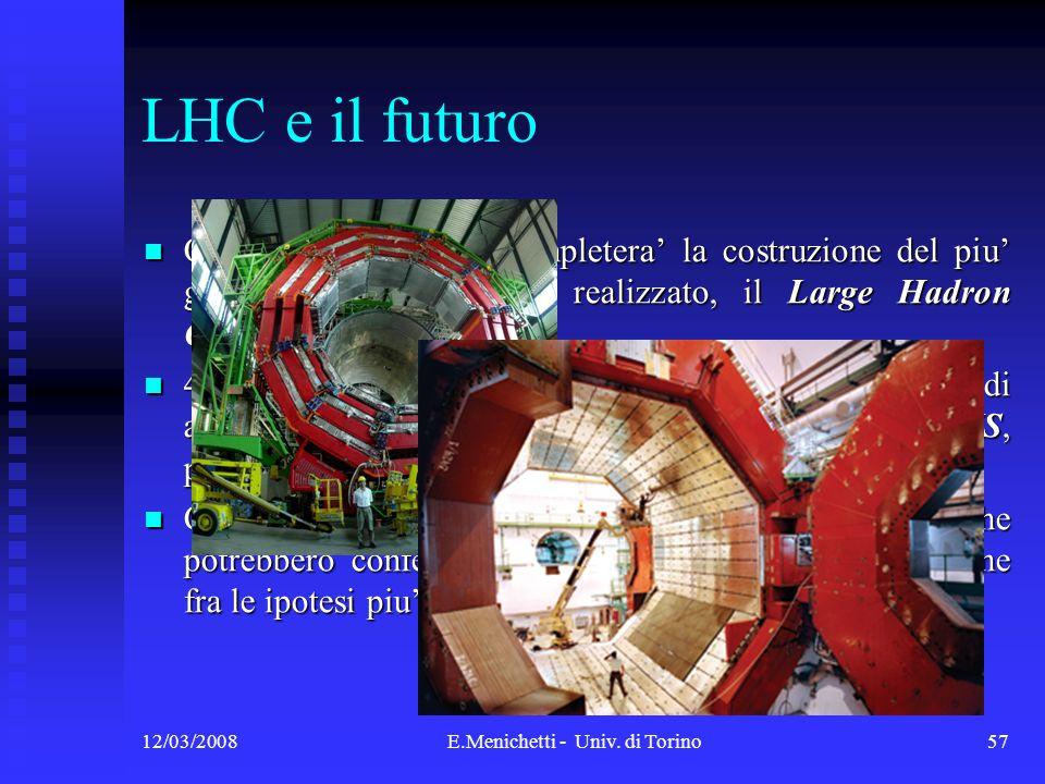 12/03/2008E.Menichetti - Univ. di Torino57 LHC e il futuro Questanno il CERN completera la costruzione del piu grande acceleratore mai realizzato, il