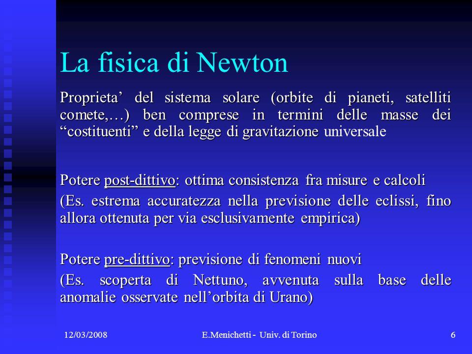 12/03/2008E.Menichetti - Univ. di Torino6 Proprieta del sistema solare (orbite di pianeti, satelliti comete,…) ben comprese in termini delle masse dei
