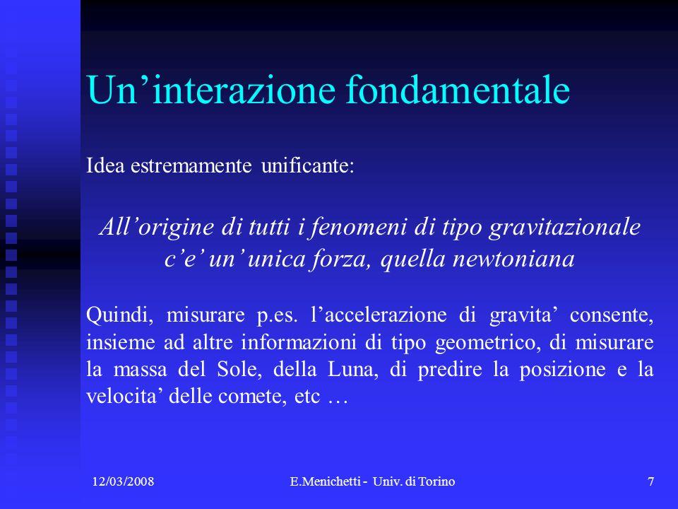 12/03/2008E.Menichetti - Univ. di Torino7 Uninterazione fondamentale Idea estremamente unificante: Allorigine di tutti i fenomeni di tipo gravitaziona