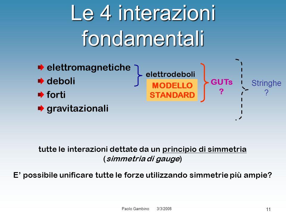 Paolo Gambino 3/3/2008 11 Le 4 interazioni fondamentali elettromagnetiche deboli forti gravitazionali elettrodeboli MODELLO STANDARD GUTs ? Stringhe ?