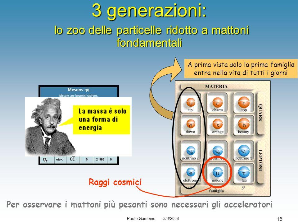 Paolo Gambino 3/3/2008 15 3 generazioni: lo zoo delle particelle ridotto a mattoni fondamentali A prima vista solo la prima famiglia entra nella vita