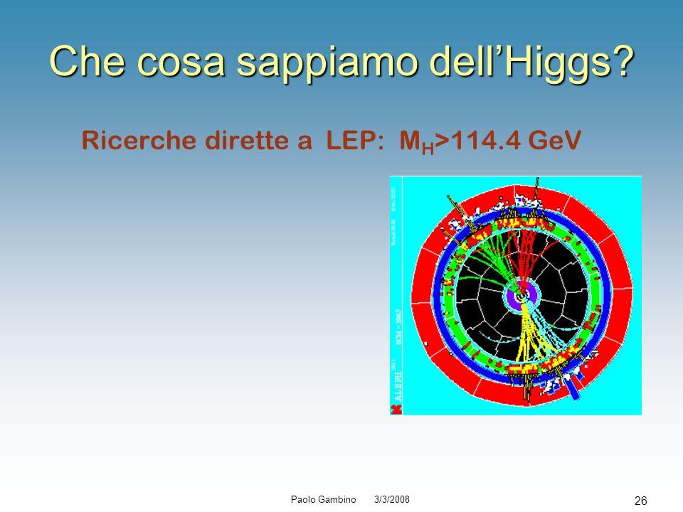 Paolo Gambino 3/3/2008 26 Che cosa sappiamo dellHiggs? Ricerche dirette a LEP: M H >114.4 GeV