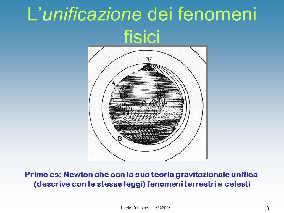 Paolo Gambino 3/3/2008 3 Lunificazione dei fenomeni fisici Primo es: Newton che con la sua teoria gravitazionale unifica (descrive con le stesse leggi