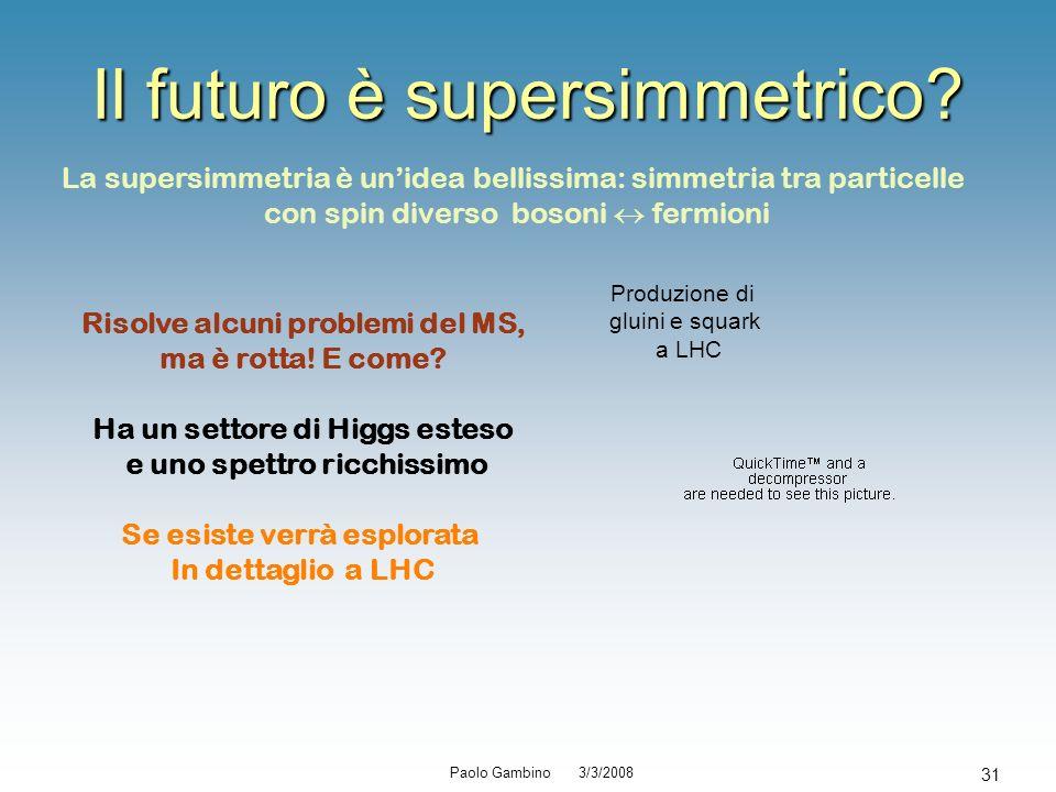 Paolo Gambino 3/3/2008 31 Il futuro è supersimmetrico? La supersimmetria è unidea bellissima: simmetria tra particelle con spin diverso bosoni fermion