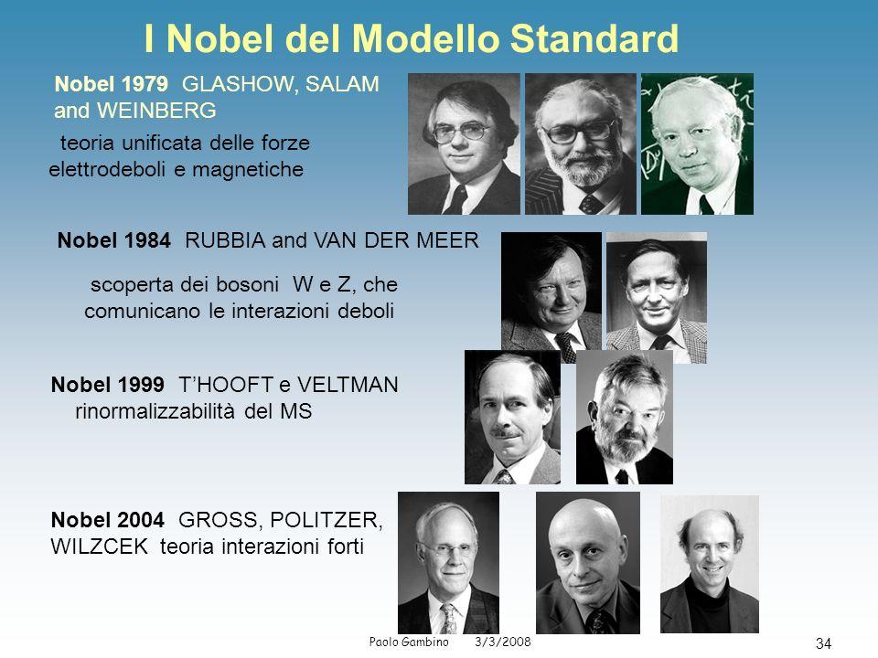 Paolo Gambino 3/3/2008 34 I Nobel del Modello Standard Nobel 1979 GLASHOW, SALAM and WEINBERG teoria unificata delle forze elettrodeboli e magnetiche