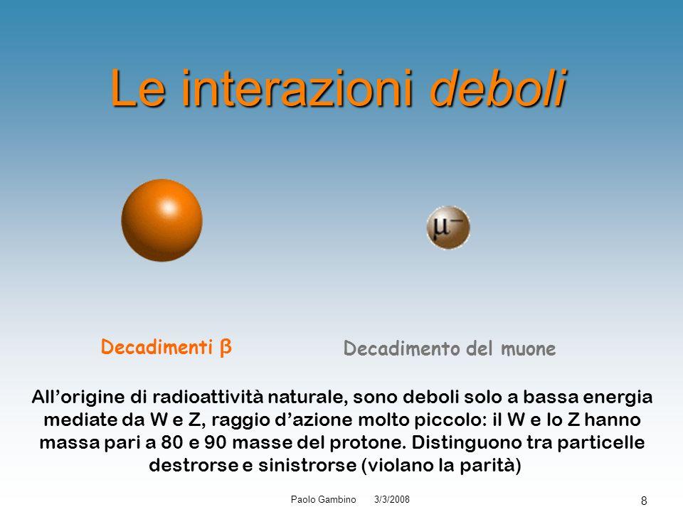 Paolo Gambino 3/3/2008 8 Le interazioni deboli Decadimenti β Decadimento del muone Allorigine di radioattività naturale, sono deboli solo a bassa ener